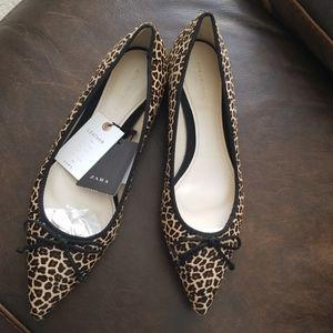 Zara mo hair leopard 1/2 point toe flat